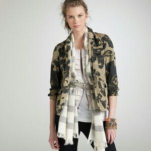 J. Crew Black Blossom Military Blazer Jacket
